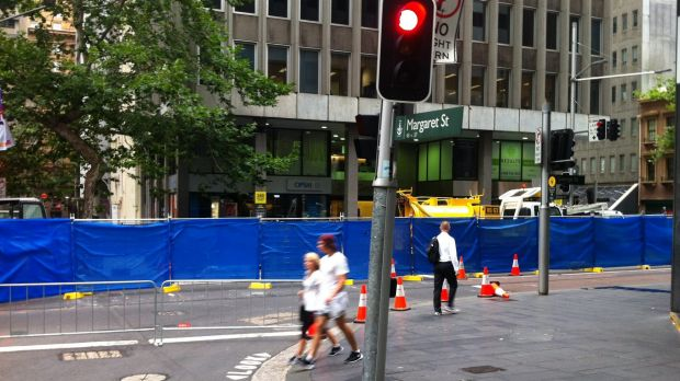 George Street closed at Margaret Street for light rail works.