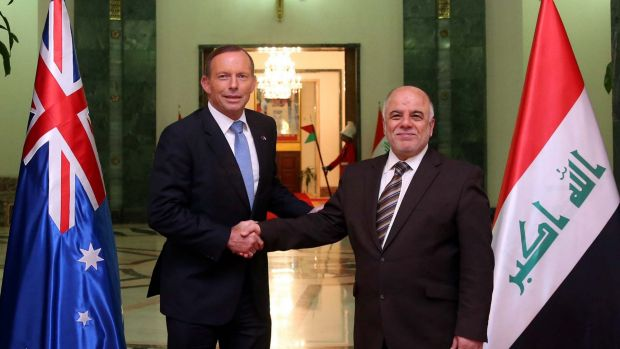 Prime Minister Tony Abbott and his Iraqi counterpart Haider al-Abardi.