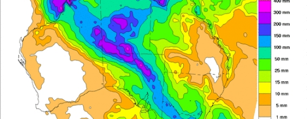 Computer models point to potentially heavy rains over the coming eight days.
