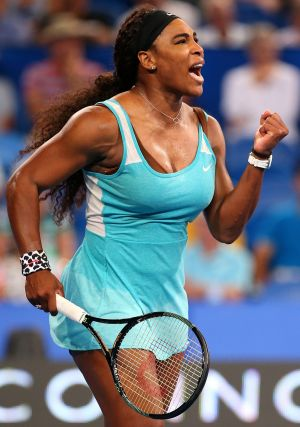 Serena Williams celebrates after her win.