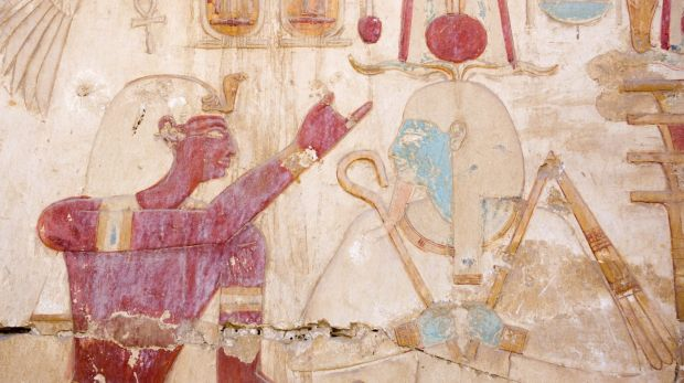 Osiris, Egyptian god of the afterlife, right, with Set, sometimes known as Seth, god of the desert, storms, disorder, ...