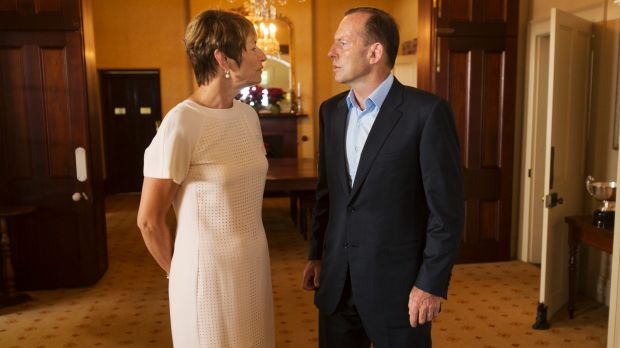 Prime Minister Tony Abbott and his wife Margie at Kirribilli House on New Year's Day.