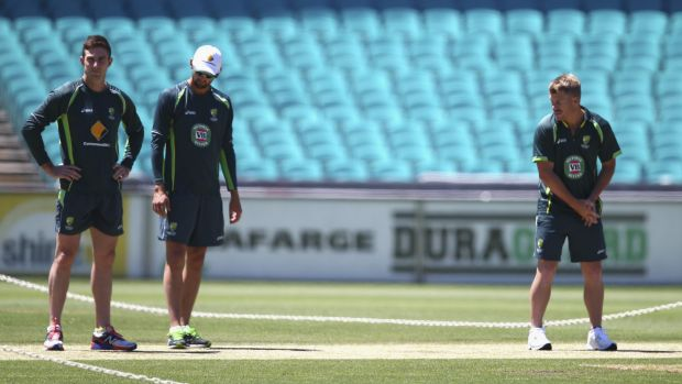 Australians Shaun Marsh, Nathan Lyon and David Warner inspect the SCG pitch on Saturday.
