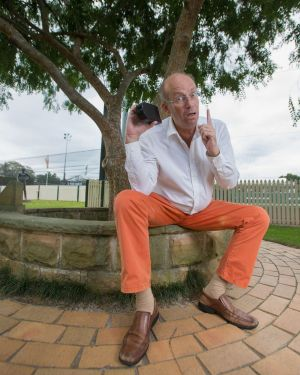 Pat Sheil in his dubious trousers under the Tree of Knowledge.