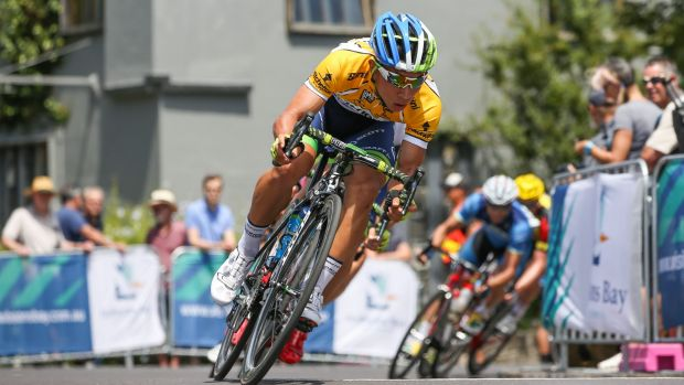 """""""Electric"""": Caleb Ewan in action in the criterium at Williamstown  on Monday"""