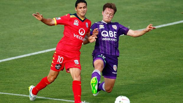 Marcelo Carrusca of Adelaide United and Chris Harold of Perth Glory vie for the ball.