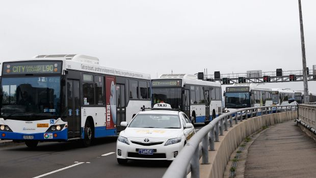 Chaos: Many buses came to a standstill on Monday.