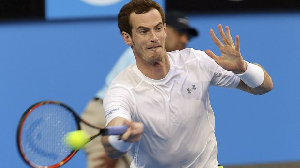 Injury concern: Andy Murray plays a forehand on his way to defeating France's Benoit Paire at the Hopman Cup in Perth.