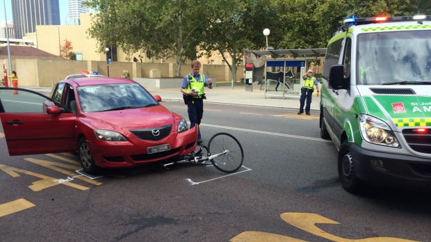 Cyclist Derek Holland was hit by a car outside the Perth Police Station on Beaufort Street.