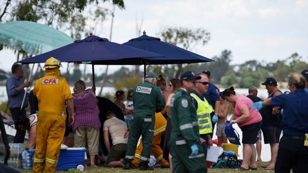 Emergency services at the scene in Nagambie.