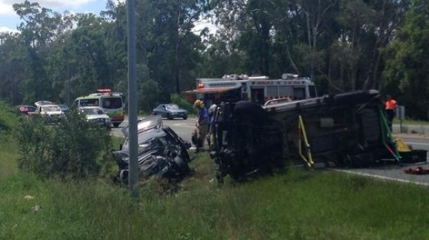 Two cars after a road crash at Boondall in which five people were injured.