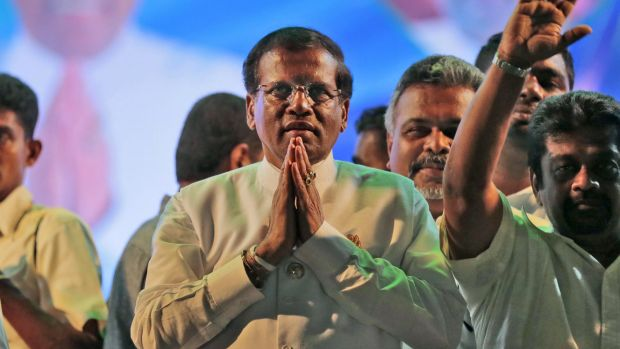 "Sri Lanka's president Maithripala Sirisena (centre) : ""No knowledge of the incident"""