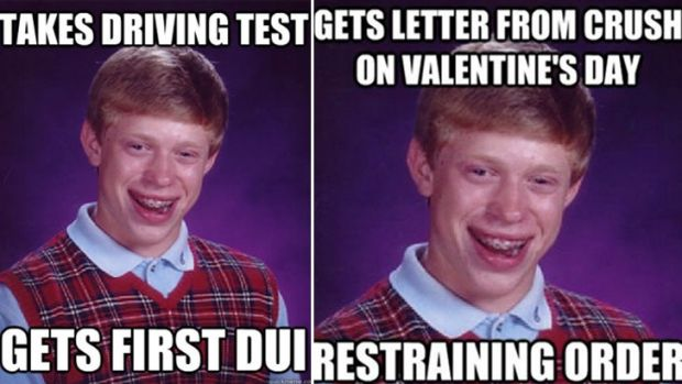 The first Bad Luck Brian meme on the left, and one of the hundreds of follow-up memes posted online.