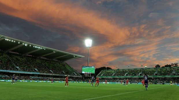 Scorcher: Perth's nib stadium hosted the A-League clash in near 40 degree temperatures.