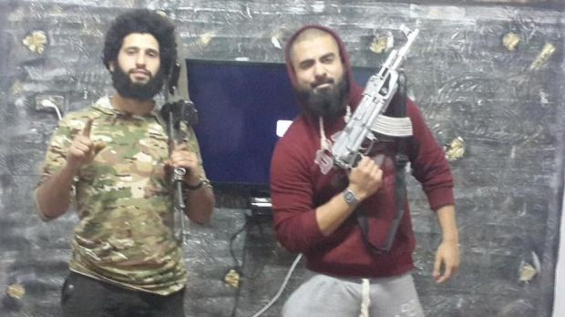 Set to fight:  Melbourne men Mahmoud Abdullatif and Abu Jihad left Australia to join Islamic State together four months ago.