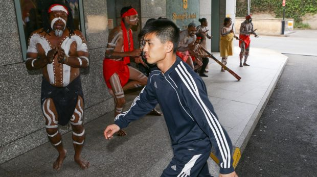 The players received a warm reception at their hotel.