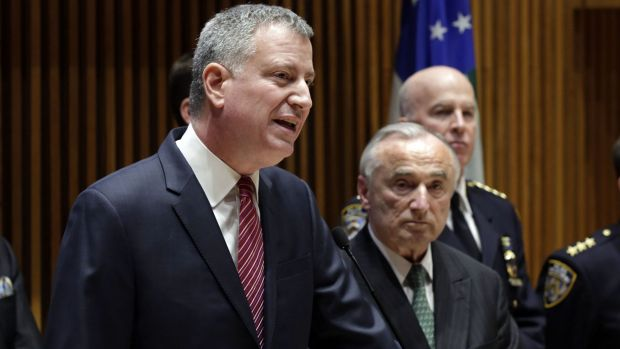 """Mayor Bill de Blasio: """"These officers did something that was extraordinarily brave this evening."""""""