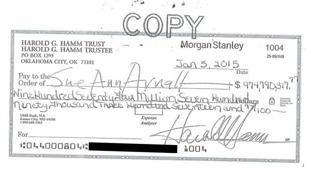 The cheque from Harold Hamm that Sue Ann Arnall rejected.
