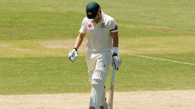 A disappointed Shane Watson walks off the SCG.