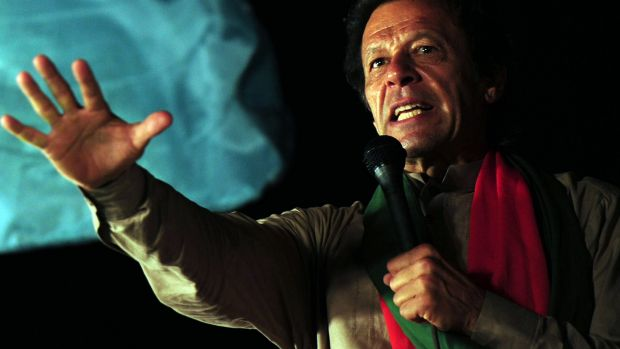 Pakistani cricketer-turned politician Imran Khan addresses supporters at an anti-government protest last year.