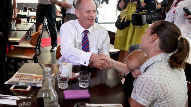 Premier Campbell Newman speaking with local family Alan and Malinda Buchan at Alto Restaurant, Broadbeach,