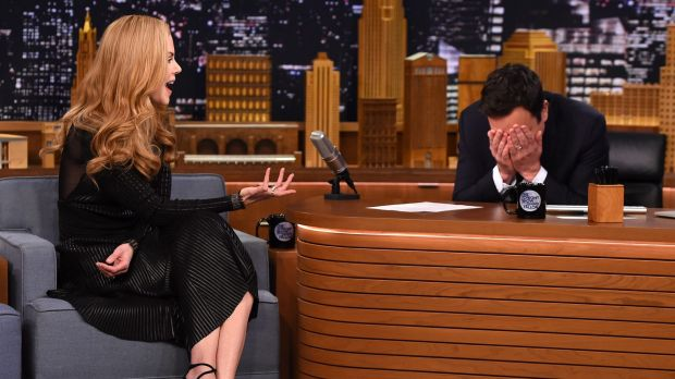 Embarrassing first date ... Nicole Kidman reveals her version of the time she met Jimmy Fallon.