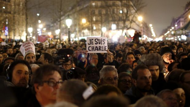 Determination: About 10,000 people joined the demonstration in Paris' Republique square.