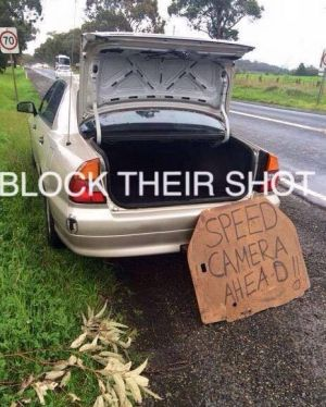 Pictures from a Facebook page encouraging drivers to obstruct police speed cameras.