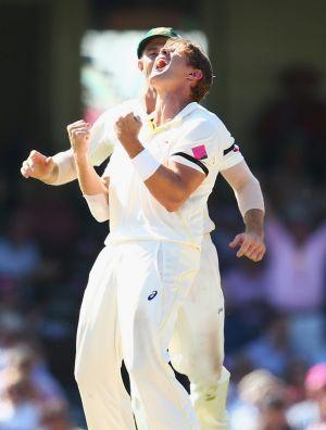 Shane Watson is jubilant after having Ajinkya Rahane dismissed LBW.