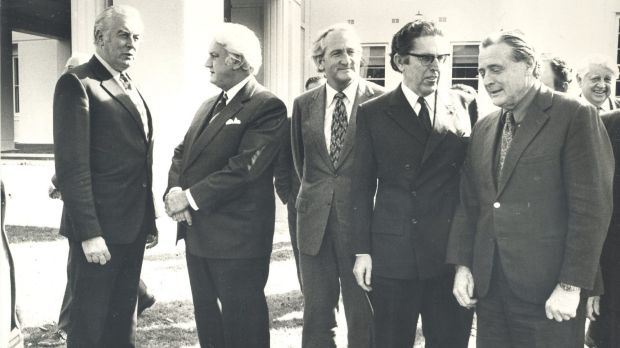 From left, Gough Whitlam, Sir John Kerr, Tom Uren, Kep Enderby and Jim Cairns at Government House.