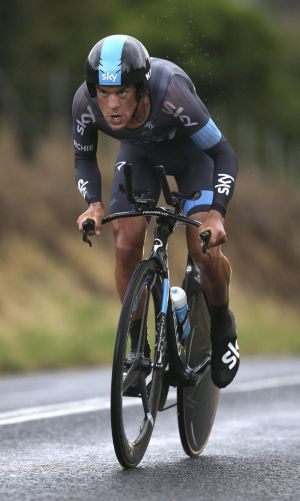 Porte in a storm: Richie Porte rides through the rain to take out the men's time trial.