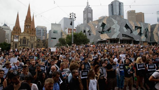 A crowd of over 3000 attended the vigil for the victims of the Paris massacre.