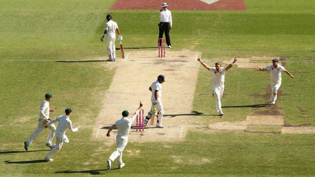 Bowled, Shane: Watson celebrates after removing Suresh Raina first ball, giving himself a chance at a hat-trick.