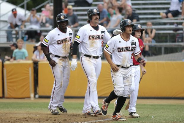 From left, Canberra's Anthony Alford, Jack Murphy and Christian Lopes all home after a Jack Murphy hit.