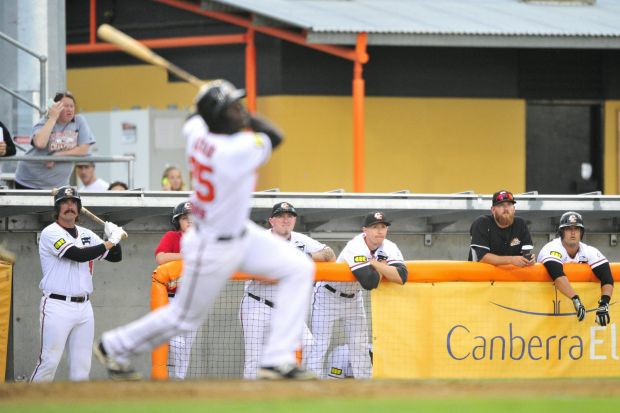 The Canberra dugout watch as team mate Anthony Alford hits the ball high for a home run.