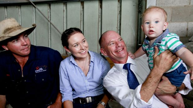 Premier Campbell Newman and six-month-old Grason Williams.
