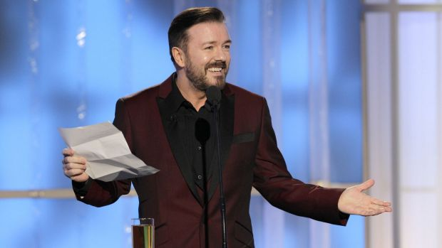Not so funny ... Ricky Gervais hosting the Golden Globes in 2012, where he made fun of most of Hollywood's stars.