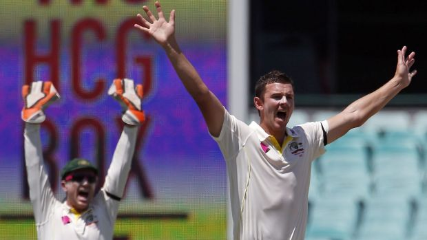 Australia's Josh Hazlewood (R) and team mate Brad Haddin appeal successfully for the wicket of Wriddhiman Saha for 35.