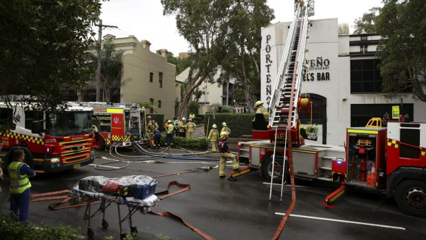 NSW Fire & Rescue attend the fire at Porteno restaurant on Cleveland St, Surry Hills.