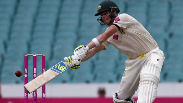 Steve Smith plays a somewhat unorthodox shot in the search for quick runs on the fourth day of the SCG Test.