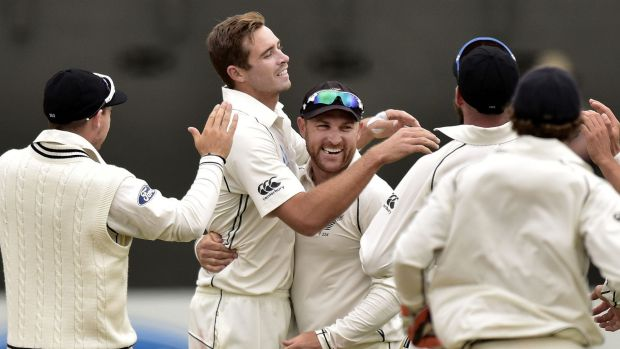 Confident: New Zealand, led by skipper Brendon McCullum, centre, believe a rare series win over Australia is on the ...