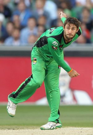 Glenn Maxwell bowls during the match against the Sydney Sixers.