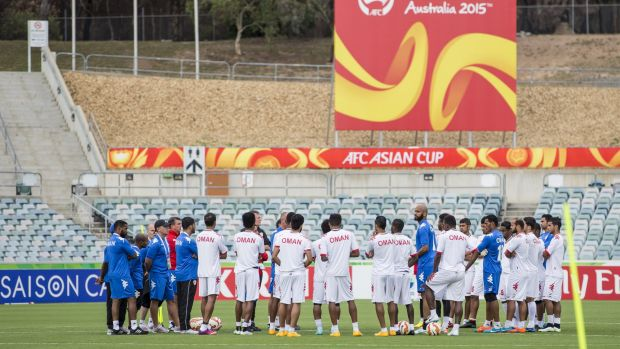 Oman train for their first Asian Cup match against the Korean Republic on January 10 at Canberra Stadium.