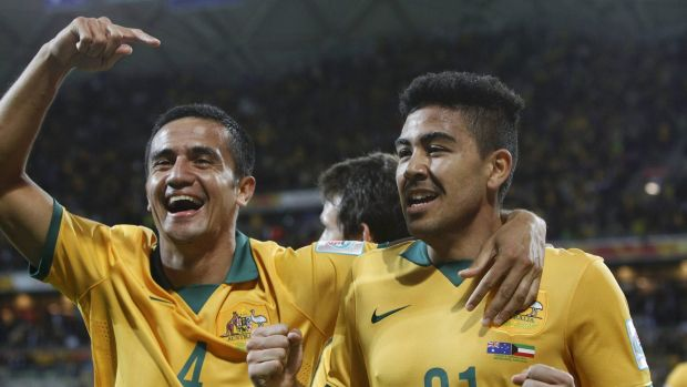 Goalscorers: Tim Cahill, left, and Massimo Luongo celebrate during the Socceroos' 4-1 win over Kuwait in the Asian Cup ...