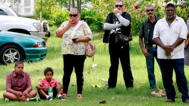 Mourners near the Cairns Convention Centre