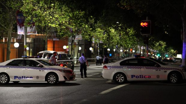 Police at the scene of the shooting of Michael Ibrahim on Macquarie Street, Sydney, in January.