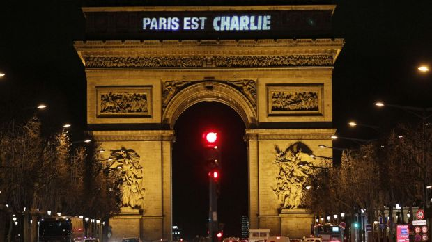 """The message """"Paris is Charlie"""" is projected on the Arc de Triomphe in Paris."""
