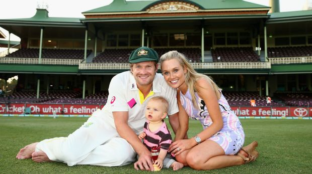 Shane Watson and his wife Lee Furlong with their son Will at the SCG.