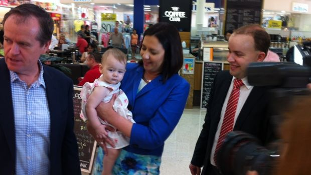 Opposition Leader Annastacia Palaszczuk, with federal counterpart Bill Shorten and Stretton candidate Duncan Pegg, ...