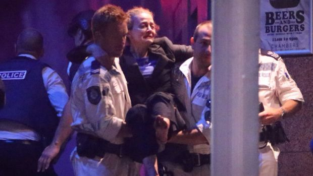 Marcia Mikhael is rescued from the Lindt cafe in Martin Place.